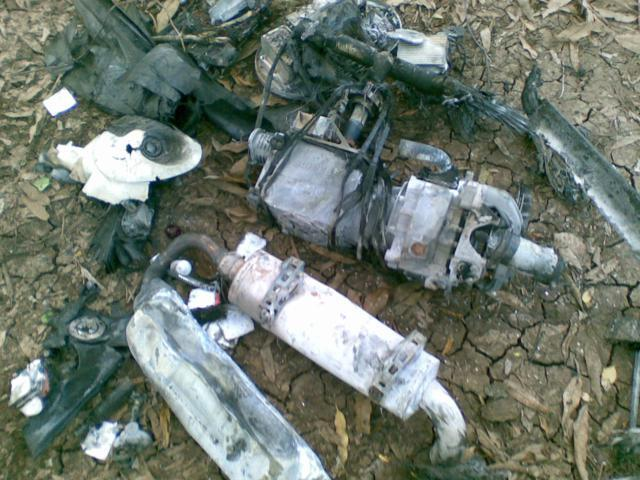 Wreckage from the drone crash (Image credit: @HSMPress1)
