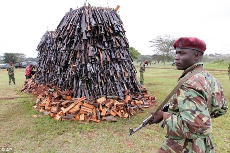 2500 illegal weapons being destroyed, a fraction of the estimated 100,000 in circulation